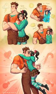 Ralph and Vanellope kiss