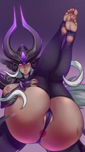 Syndra waiting with her legs up in the air!