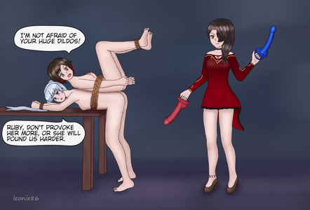 Ruby and Weiss in Cinder's hands