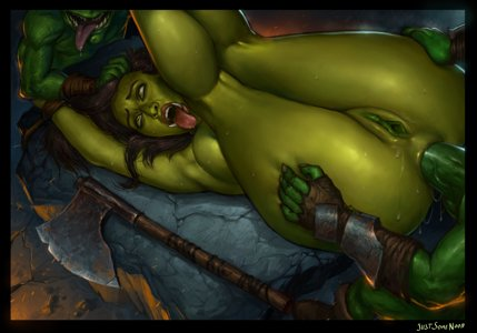 Orc spitroasted by goblins