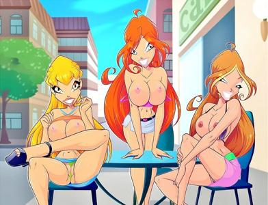 The slutty girls from Winx Club showing off in public