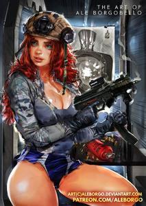 Gun range sexy redhead!
