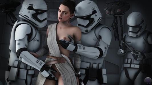 Rey vs Stormtroopers