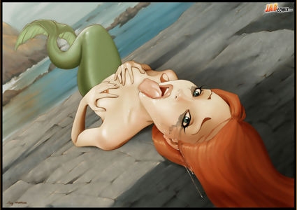 Ariel lays back with her mouth being an open invitation