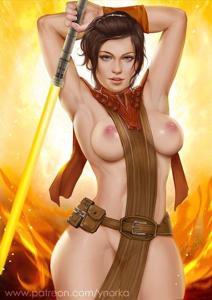 Bastila Shan showing off her new slutty Jedi robes