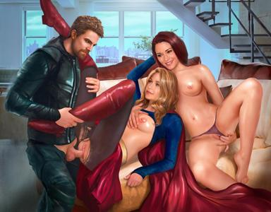 Supergirl getting fuck by green Arrow with her sister Alex Danvers