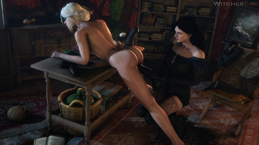 Yennefer giving Ciri her surprise