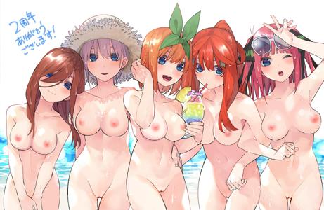 Nakano sisters at the beach Miku, Ichika, Yotsuba, Itsuki and Nino,