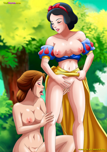 Belle and Snow White playing with one another