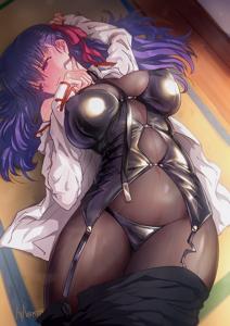 Sakura Matou Wearing Scáthach's Bodysuit