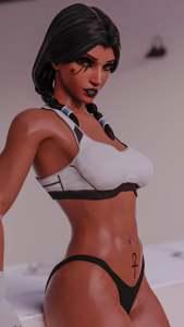 Pharah's white sports bra