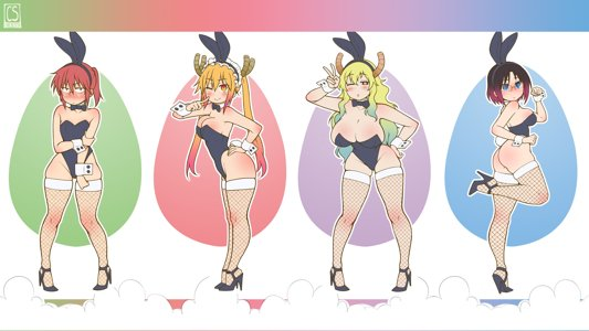 Dragon Maid Girls in Bunnysuits
