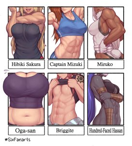 Hibiki Sakura, Captain Mizuki, Miruko, Oga-san, Briggite, Hundred Face Hassan - Six Fanarts, strong Edition