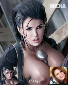 So for my curiosity I used the face swap app of Angel Dust and the actress Gina Carano  [Marvel ]