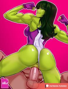 She-Hulk flexing