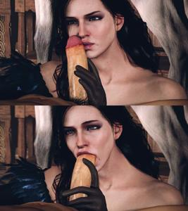 Yennefer playing with a dick