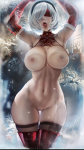 Undressed 2B up against the glass