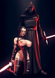Rey and Kylo feeling the dark side