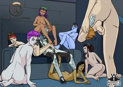 Genji's Footjob Harem w/Tracer, Widowmaker, Zarya, Mercy, Sombra, Brigitte & Pharah