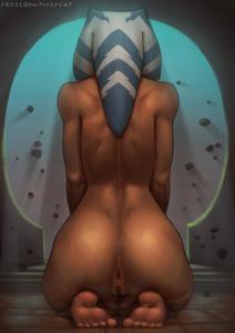Ahsoka Tano meditating while nude