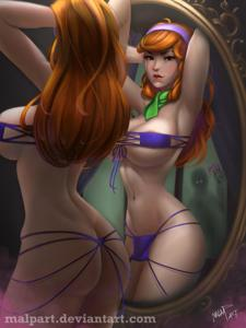 Daphne check out her new swimsuit in the mirror
