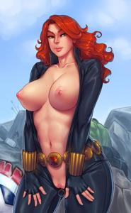 Black Widow is showing off her big tits in the middle of a battle