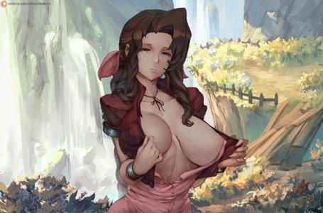 Aerith revealing her tiddies