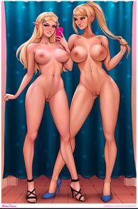 Zelda and Samus taking a lewd selfie