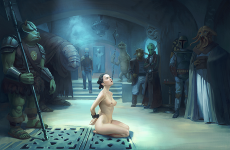 Rey surrounded and about to be punished.