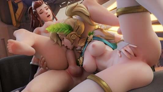 Brigitte x Mercy threesome