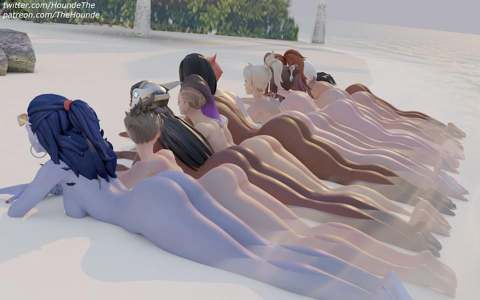 Widowmaker, Tracer, Symmetra, Sombra, Pharah, Moira, Mercy. Mei, Brigitte, Ashe and Ana lined up on the beach
