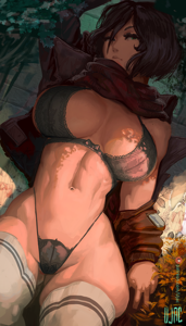 Mikasa Ackerman looking hot wearing lingerie