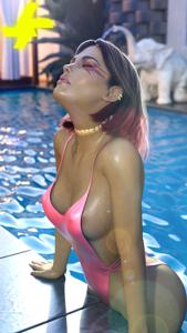 Loba at the pool