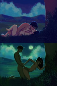 Mikasa and Eren making love under the moon