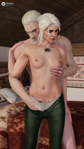 Geralt hand inside Ciri's panties
