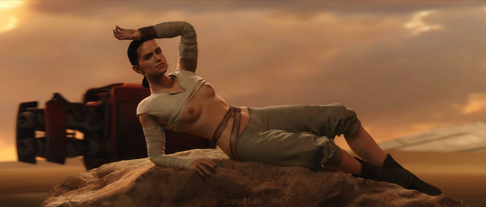 Rey poses for you in the desert
