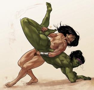 A wrestling match between She-Hulk and Wonder Woman