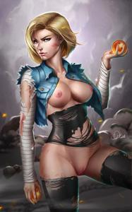 Android 18 after a hard battle