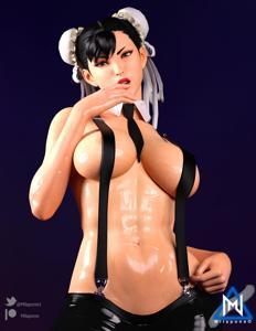 Chun-Li is hot and sweaty