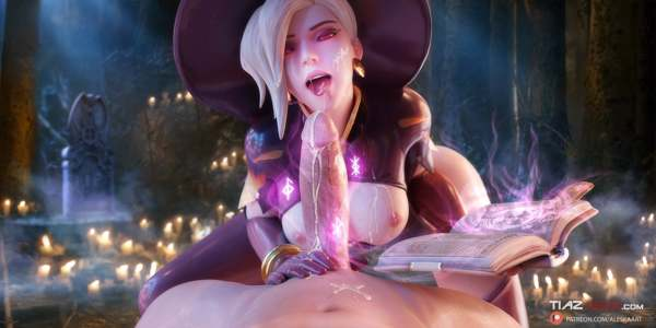 Witch Mercy casting a spell