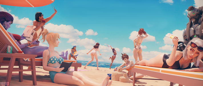 Widowmaker, Pharah, Mercy, Ana, D.Va, Sombra, Tracer, Brigitte, Ashe & Bob at the Beach