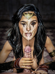 """Wonder Woman / Gal Godot extreme facial from the """"Covered in Cum Series I"""" by The Merry Mage. Link in comments."""