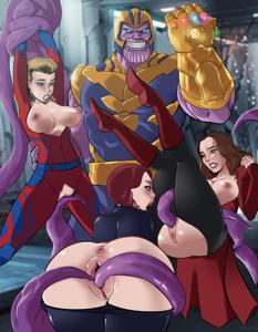 Thanos captures earth's sexiest avengers, Captain Marvel, Black Widow & Scarlet Witch