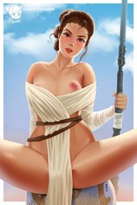 Rey's outfit is one to keep herself cool in the hot sun